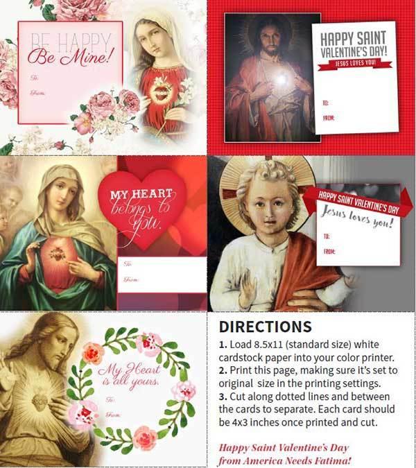 Set of 5 Catholic Valentines