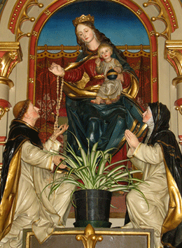 Sculpture Our Lady gives the Rosary to St. Dominic
