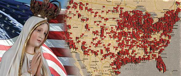 Our Lady and map of the USA with pins showing rosary rallies