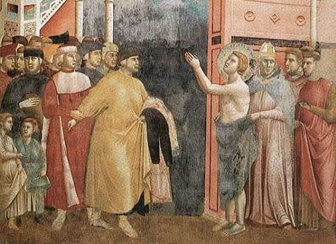 Image: St. Francis of Assisi giving his father his clothes