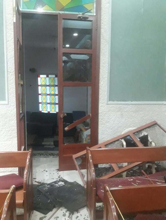 Damage inside the Church of God in Ashrafieh in Beirut.