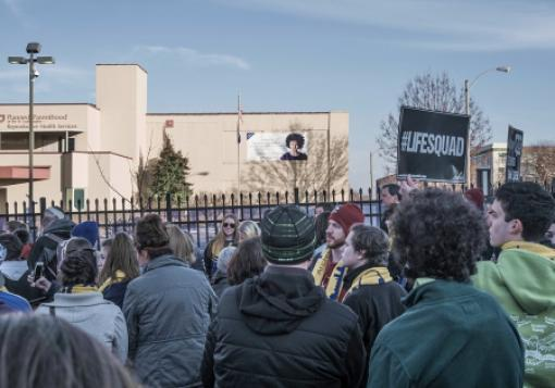 Pro-life protesters gather outside a Planned Parenthood facility in St. Louis.
