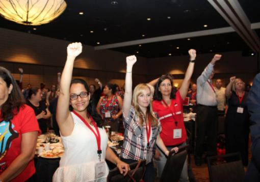 Attendees at UTLA's All in for Respect Conference in Los Angeles on July 31