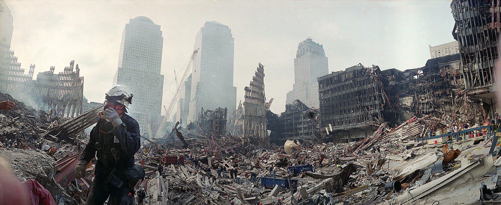 Rescue workers continue their efforts at ground zero on Monday, Sept. 24, 2001.