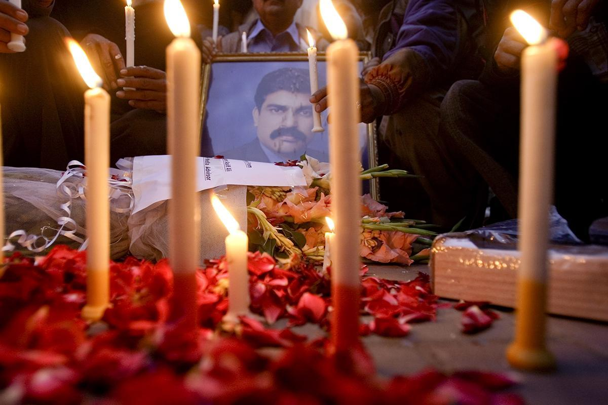 A demonstration in Lahore, Pakistan, after Shahbaz Bhatti's death in 2011