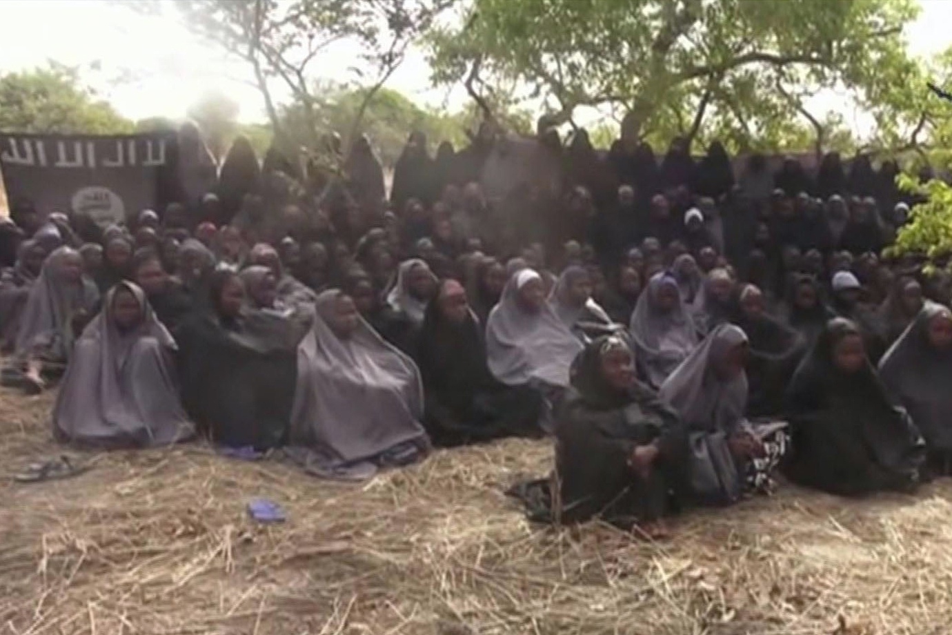 A 2014 image of the alleged missing girls abducted from Chibok, Nigeria, from a video by Nigeria's Islamic extremist network