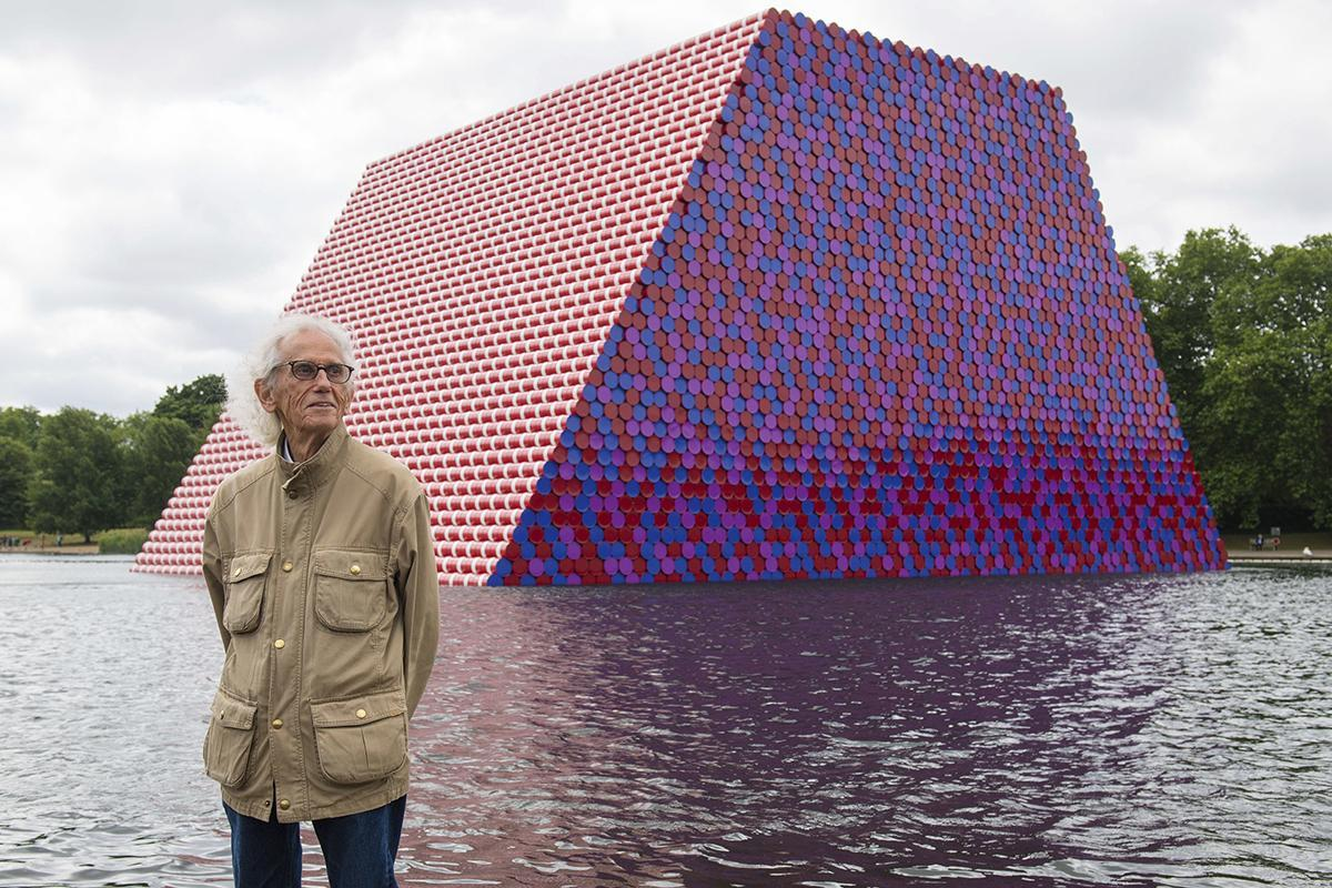 Christo at the unveiling his art installation in The Serpentine lake in London's Hyde Park
