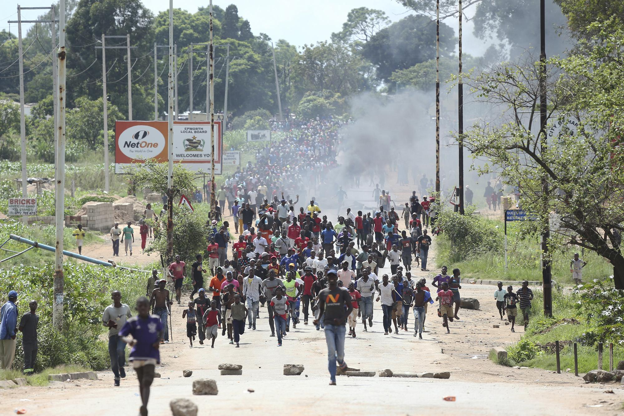 Demonstrators in Harare, Zimbabwe, earlier this month