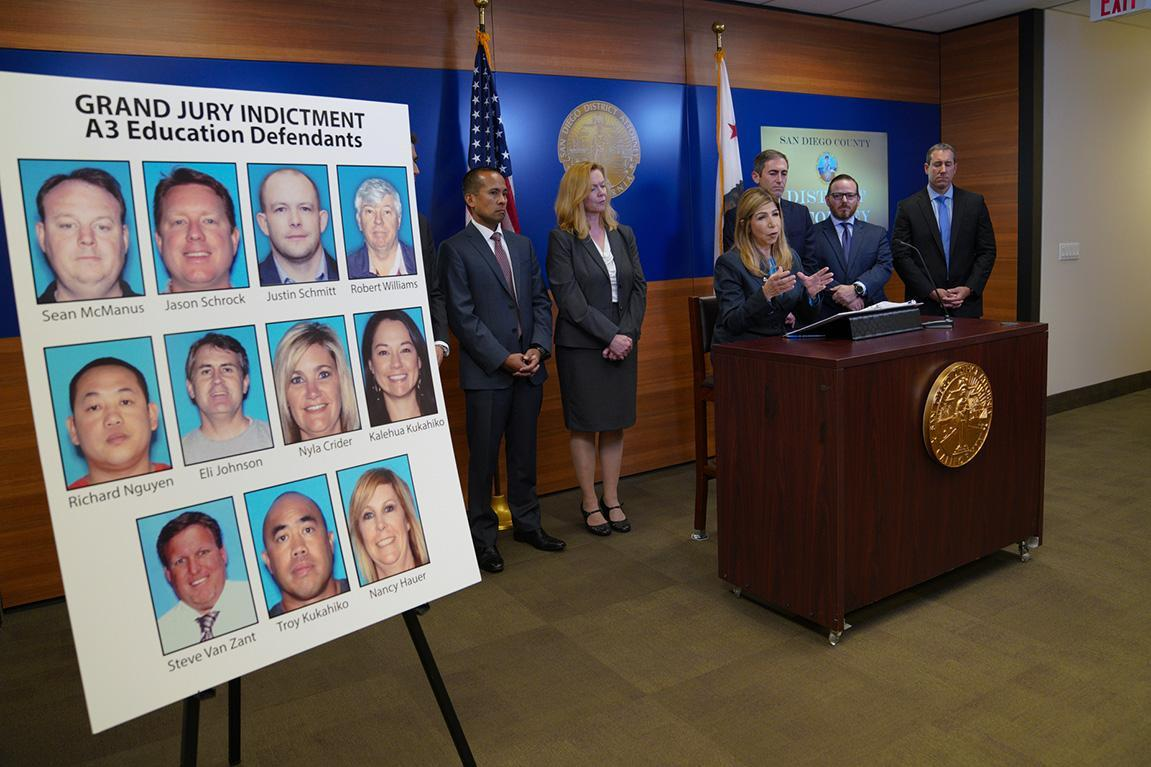 San Diego District Attorney Summer Stephan speaks at a news conference last week about A3 Education in San Diego.