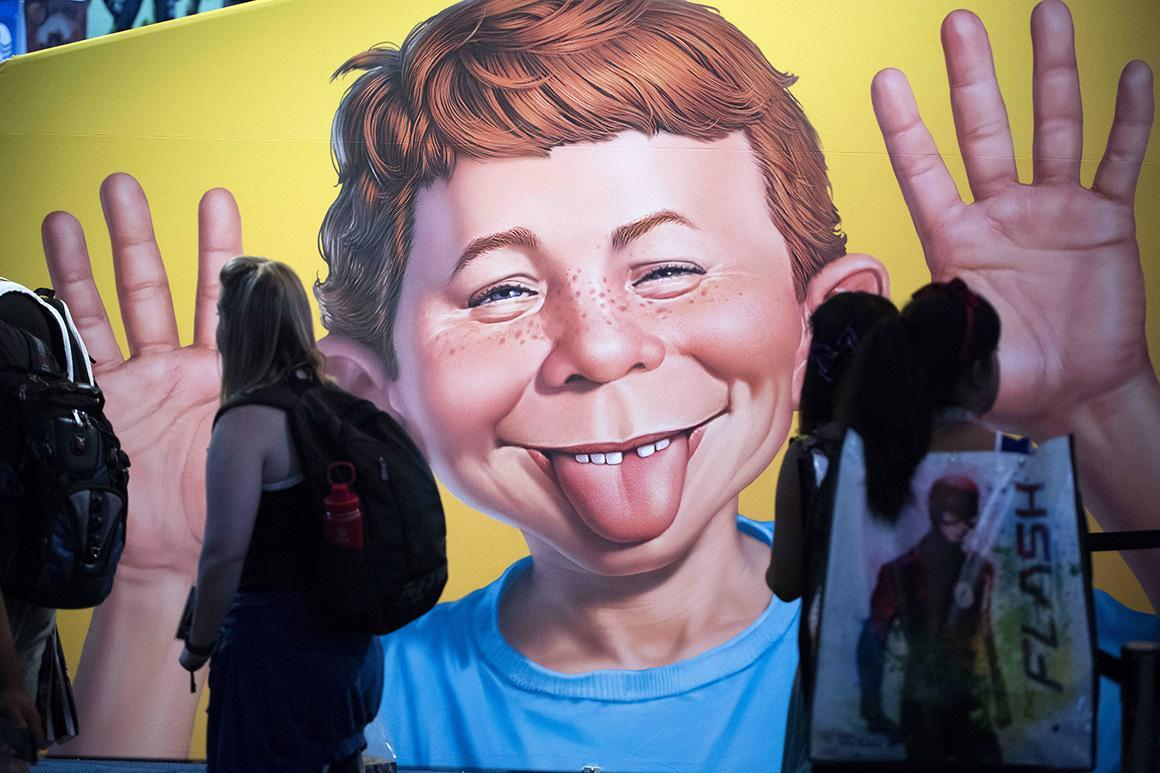 The face of Mad Magazine's Alfred E. Neuman at Comic-Con International in 2017 at the San Diego Convention Center