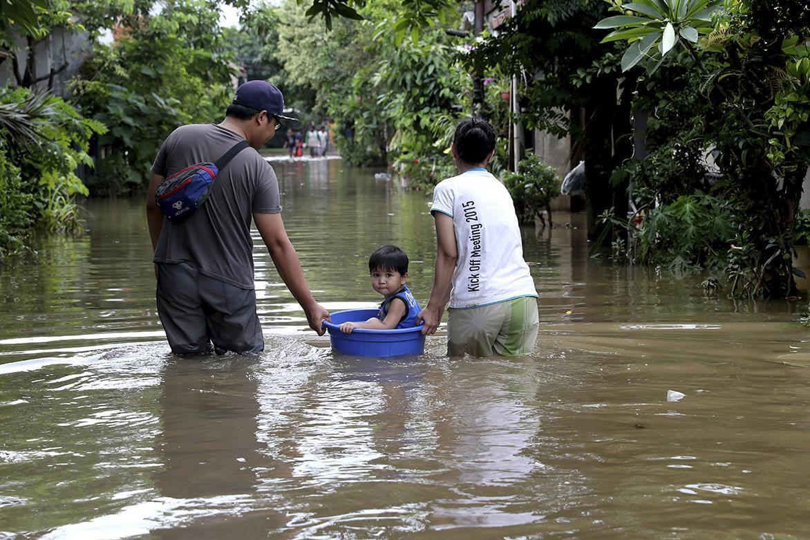 A flooded neighborhood on Thursday in Tangerang, located on the outskirts of Jakarta, Indonesia