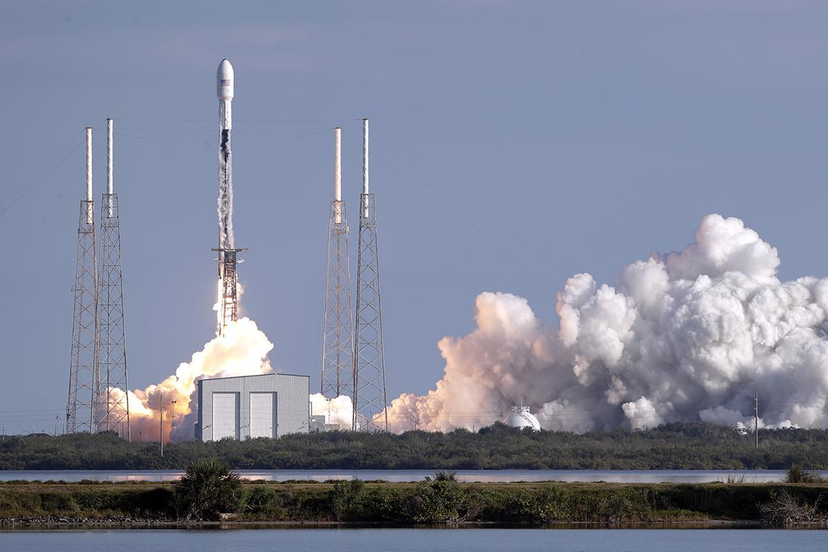 A Falcon 9 SpaceX rocket with a payload of satellites lifts off from Cape Canaveral, Fla., on Jan. 29.