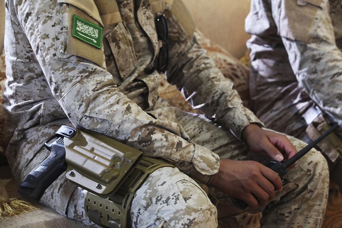 A Saudi soldier near Mukalla, Yemen