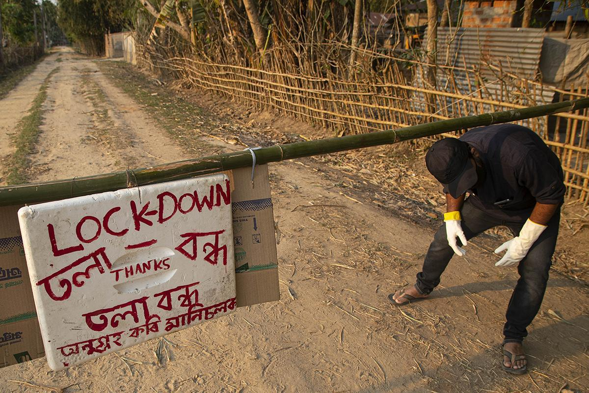 A gate outside a village on the outskirts of Gauhati, India, on Tuesday