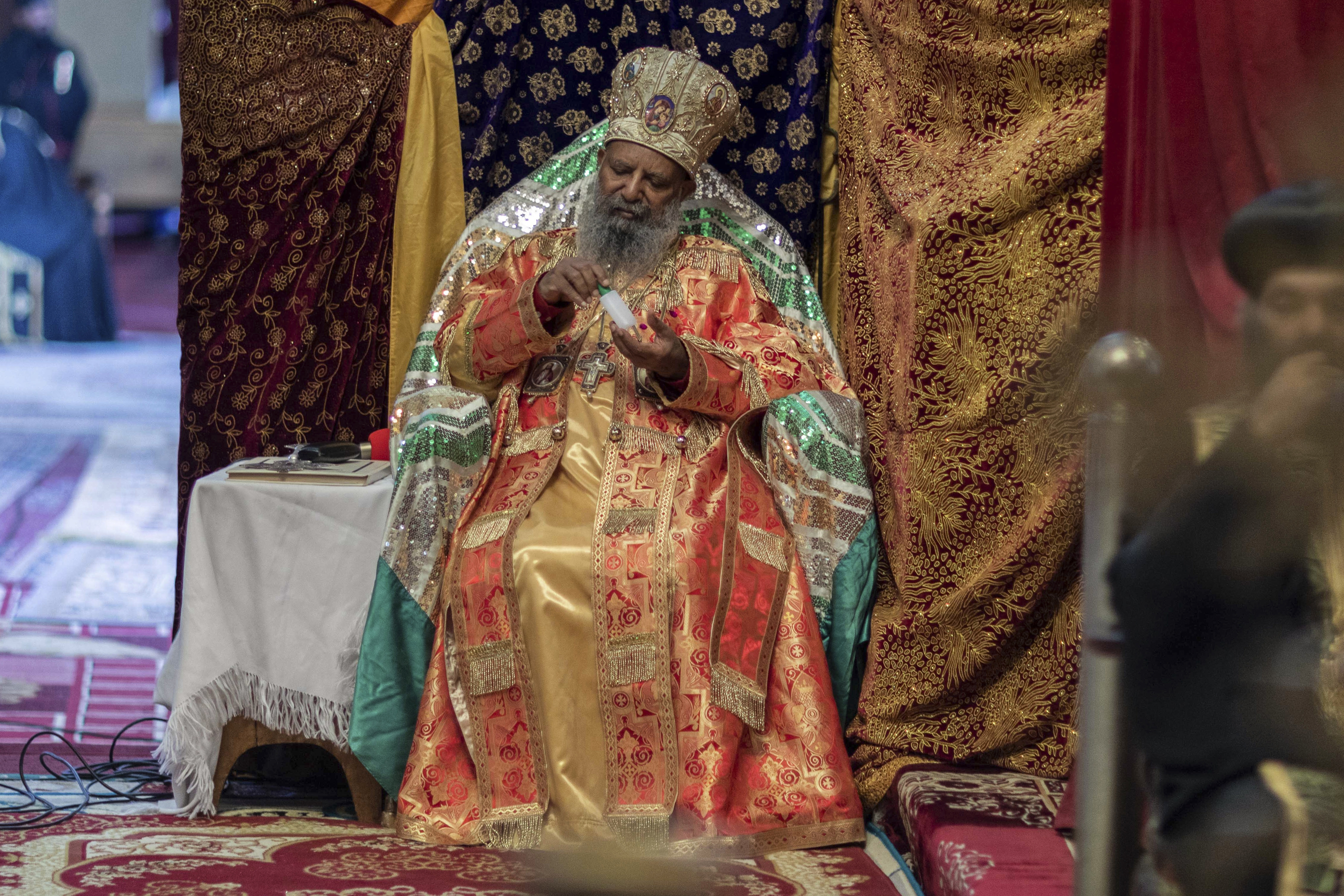 Abune Mathias at the Holy Trinity Cathedral in Addis Ababa, Ethiopia