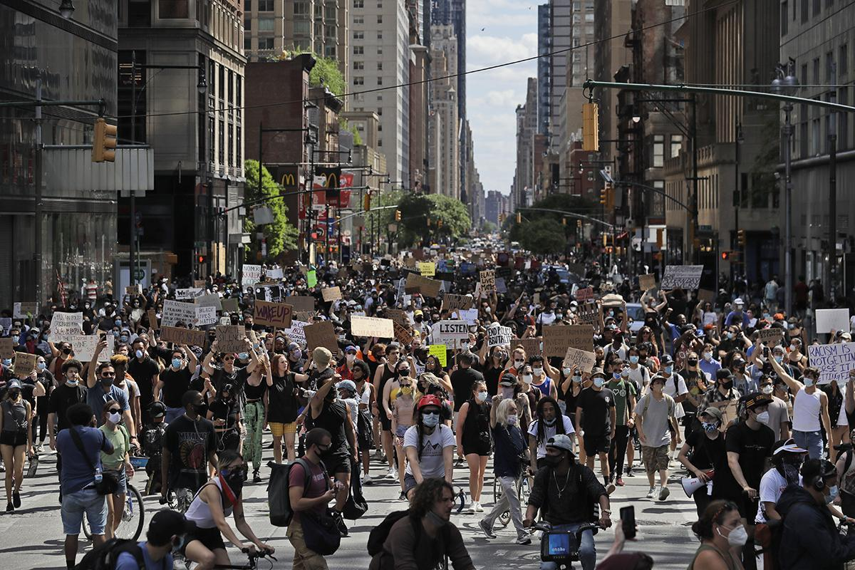 Protesters in New York City on Sunday