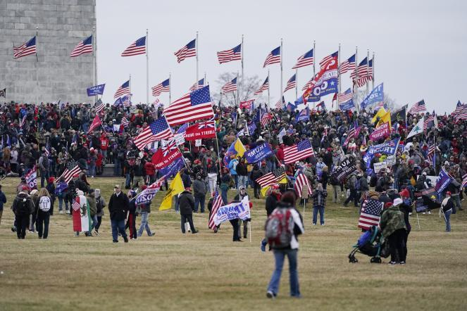 In Washington, D.C., Trump supporters gather on the Washington Monument grounds on Wednesday in advance of Congress' tally of Electoral College votes.