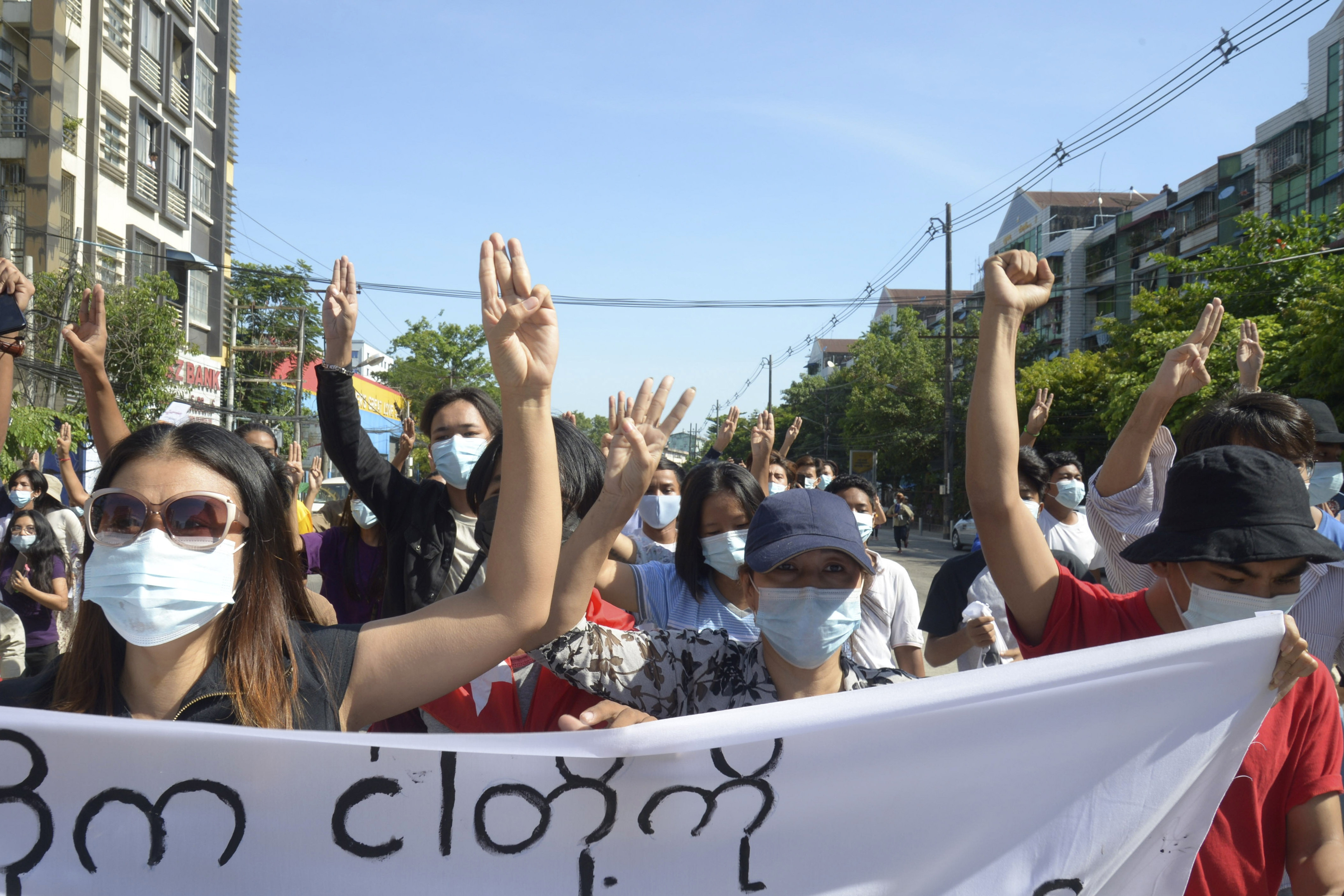 Anti-coup protesters in Yangon, Myanmar, on Friday