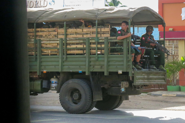 Military troops and police patrol in Kayah state, eastern Myanmar, on Sunday.