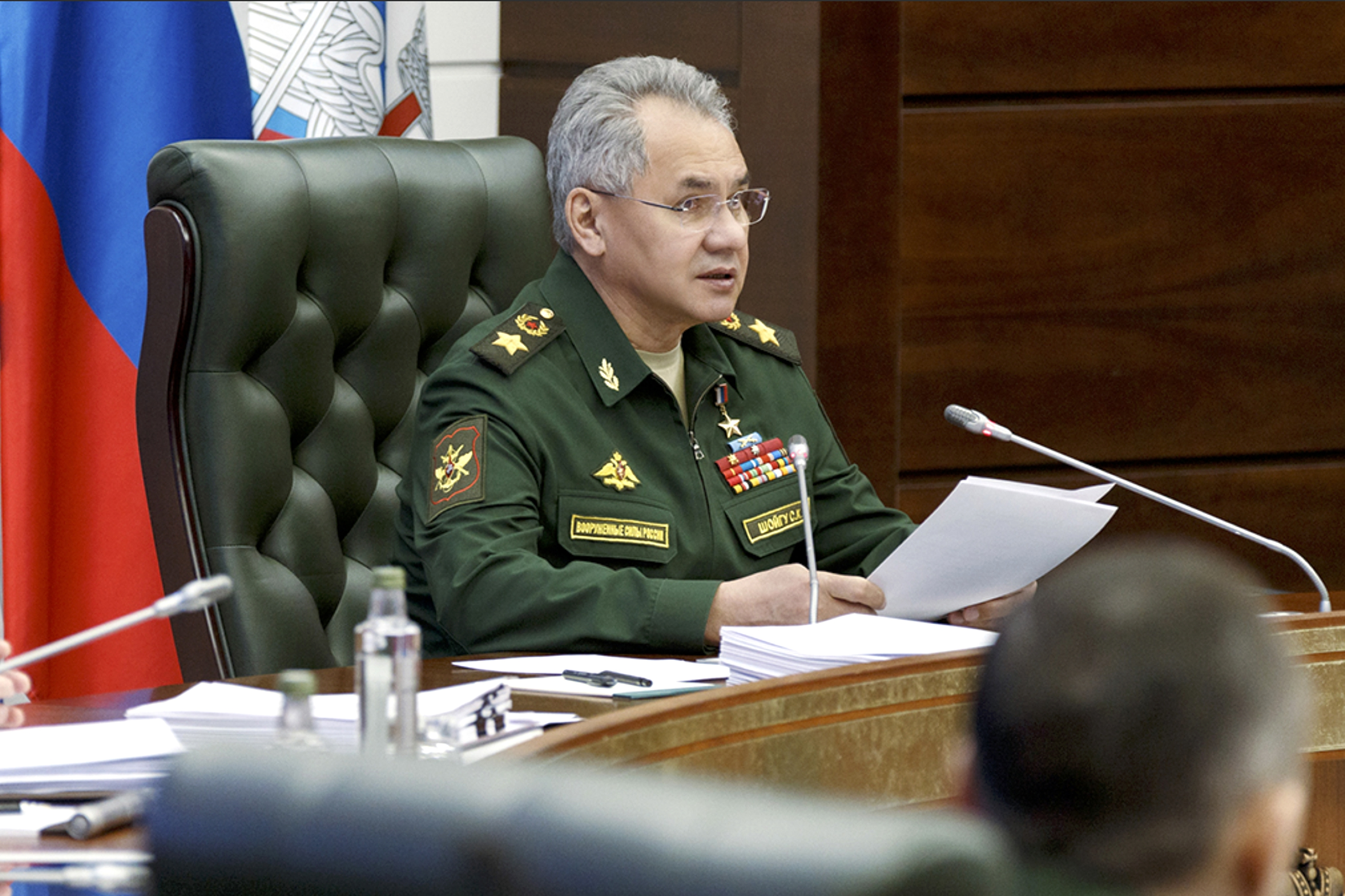 Russian Defense Minister Sergei Shoigu in Moscow on Monday