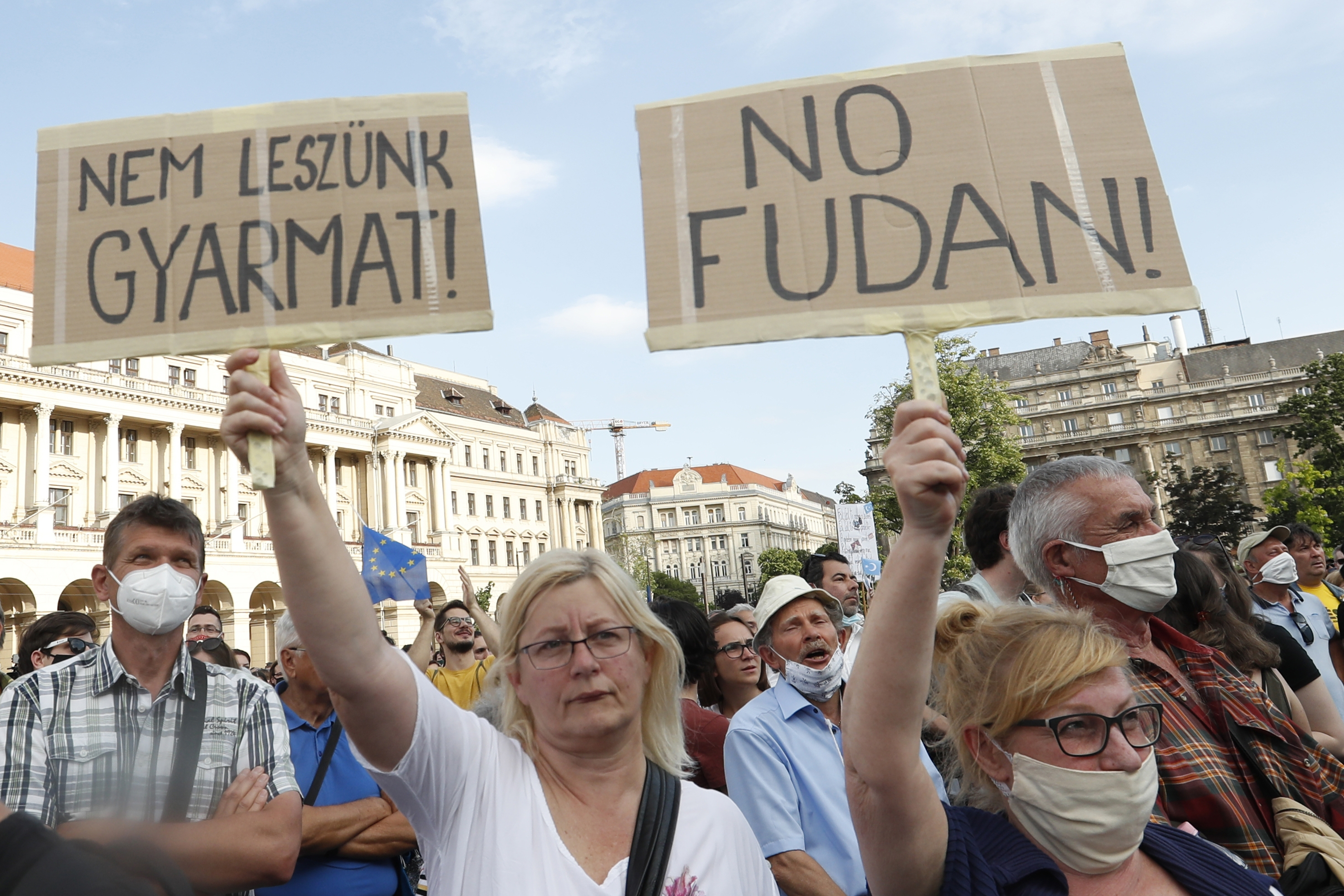 Protesters in downtown Budapest, Hungary, on June 5