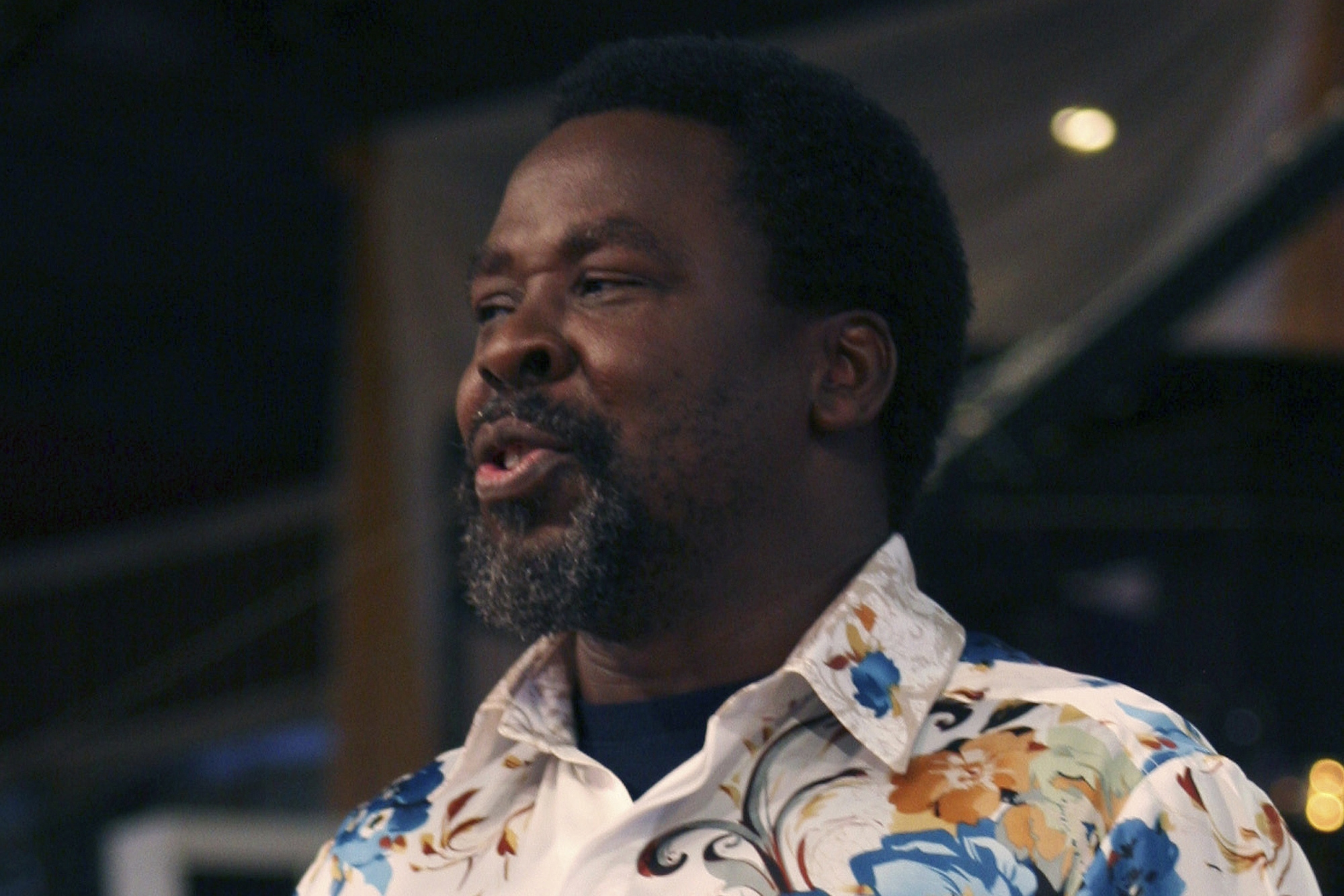 T.B. Joshua conducts a service at the Synagogue Church of All Nations in Lagos, Nigeria.