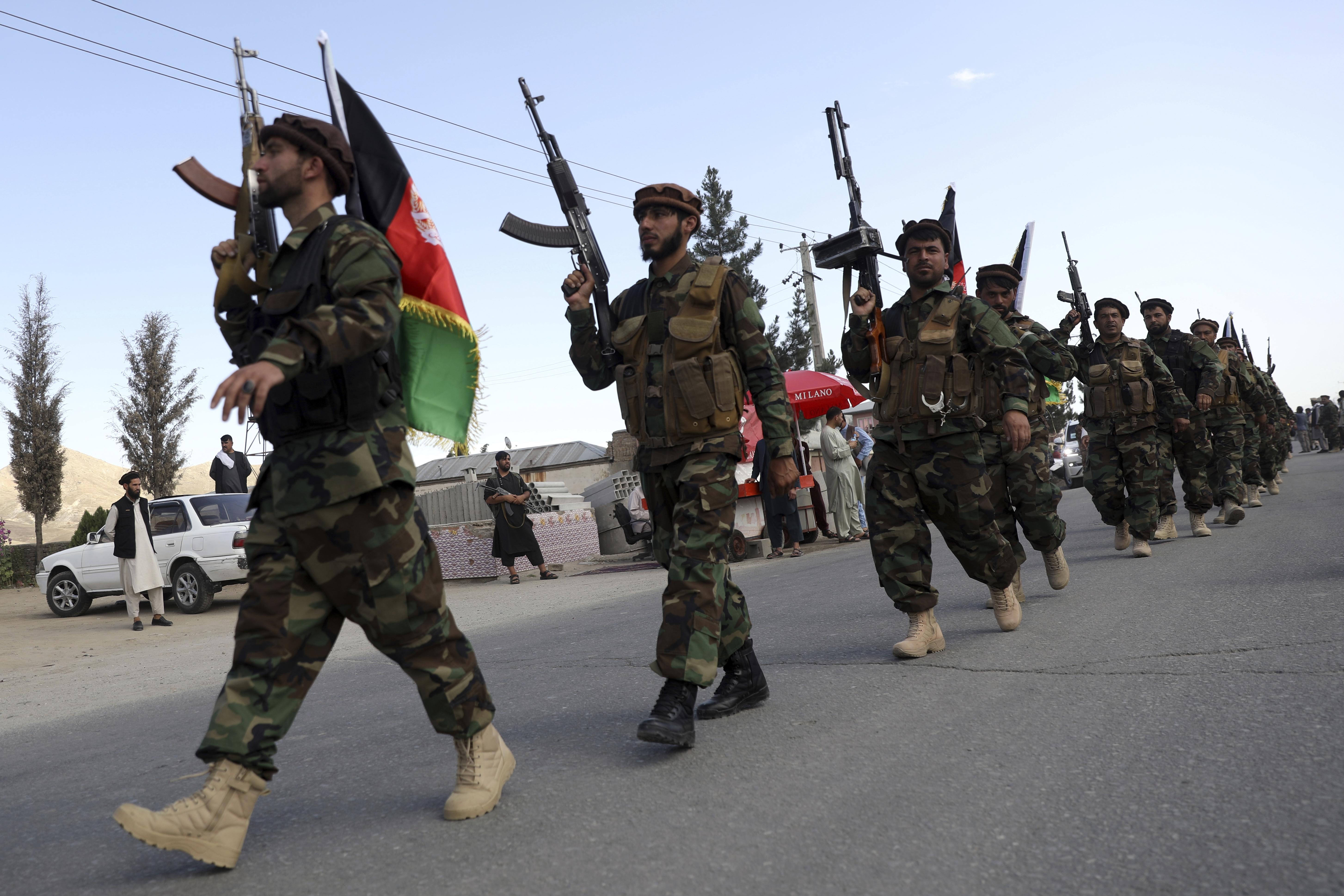 Afghan militiamen in Kabul, Afghanistan, in June