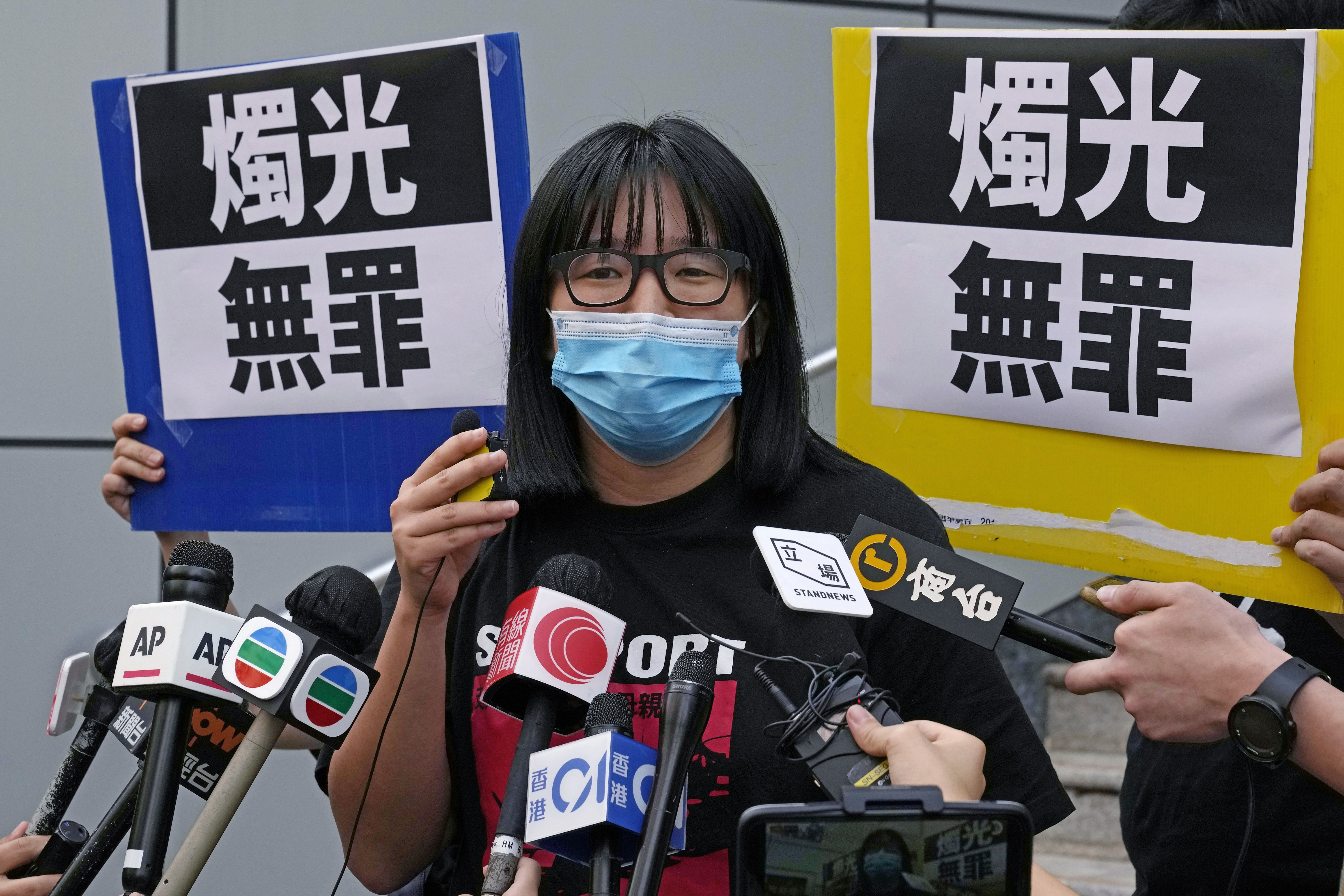 Chow Hang Tung, vice chairperson of the Hong Kong Alliance in Support of the Democratic Patriotic Movements of China, outside a police station in Hong Kong