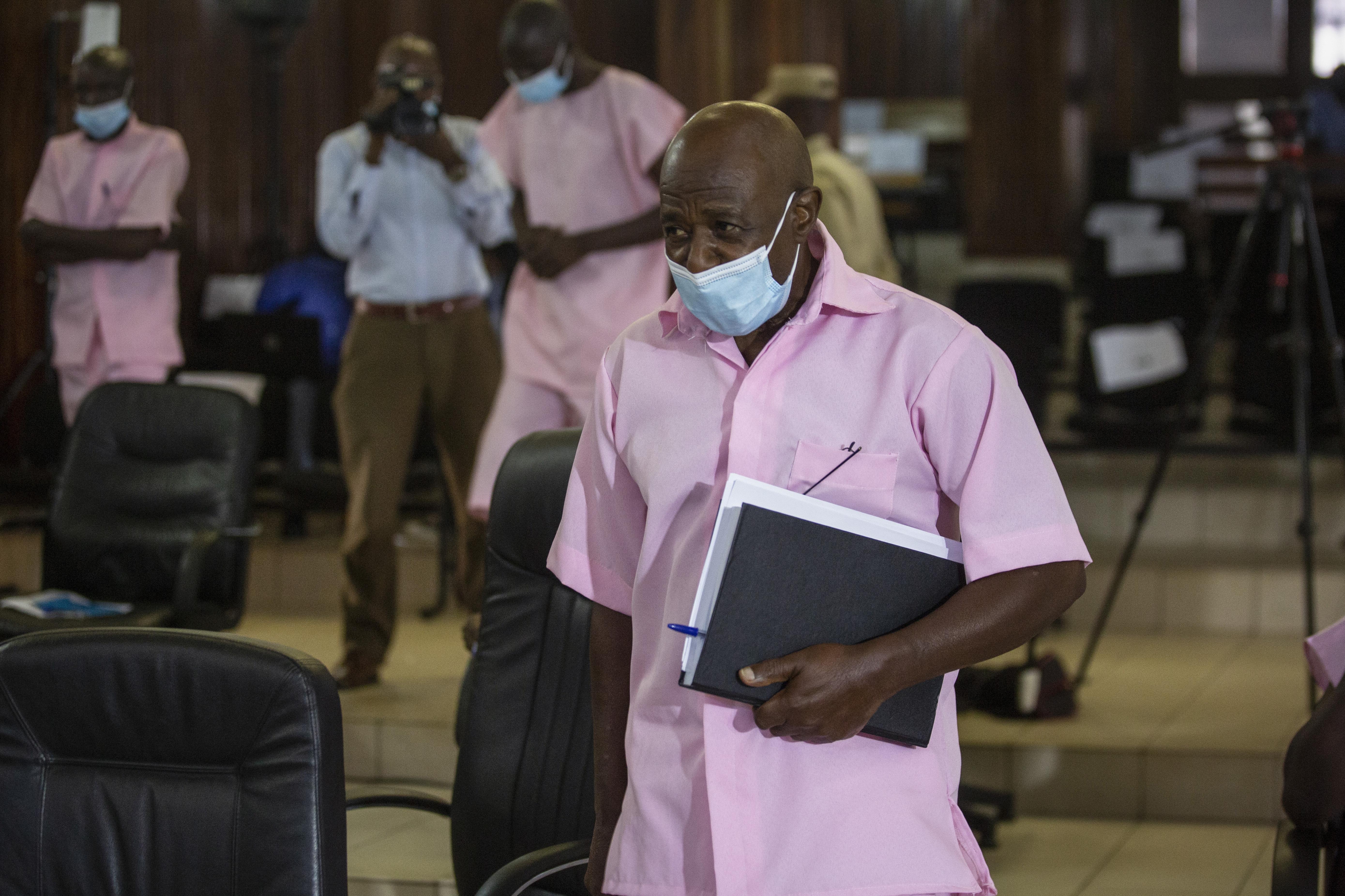 Paul Rusesabagina attends a court hearing in Kigali, Rwanda.