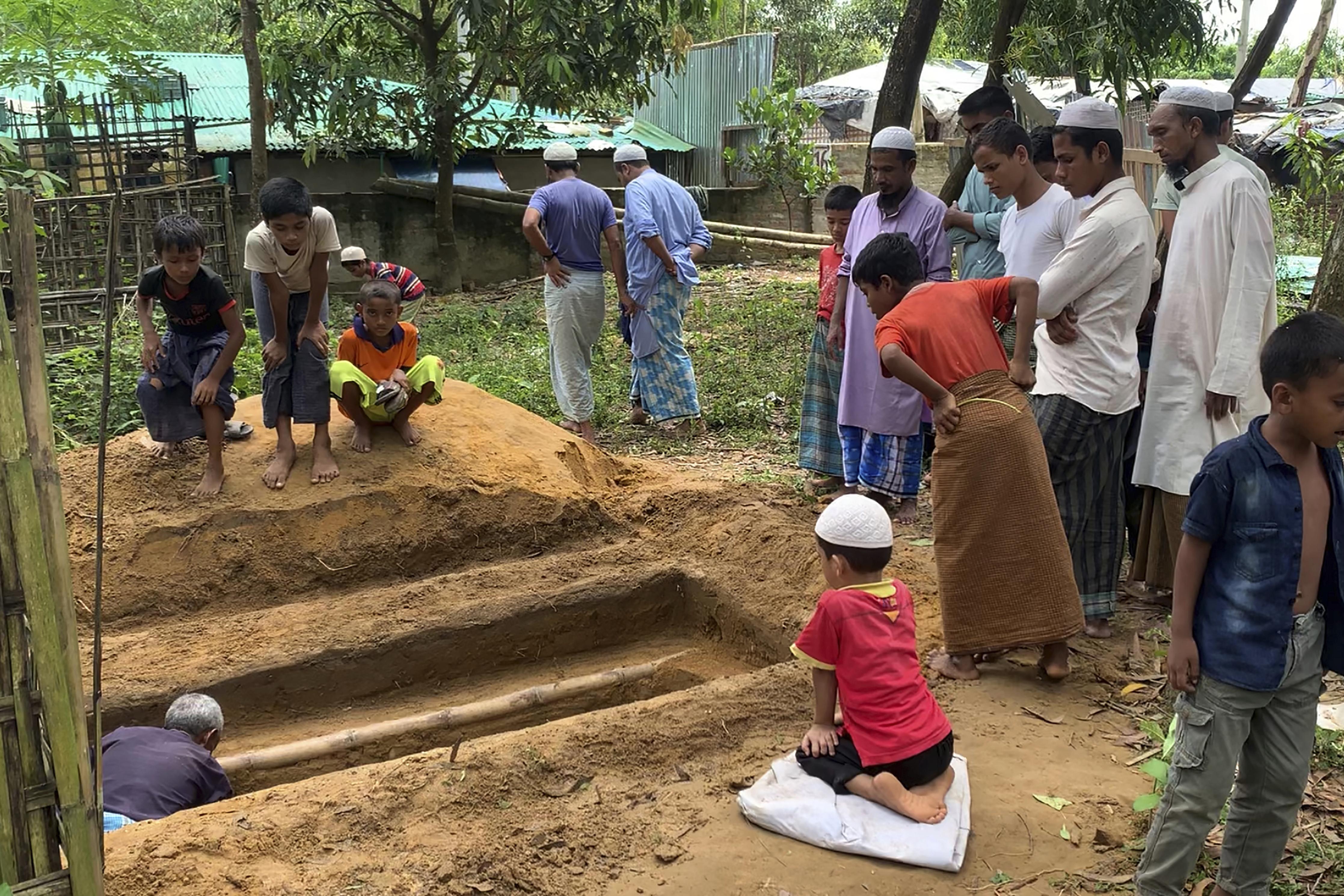A grave for Mohib Ullah at the Rohingya refugee camp in Kutupalong, Bangladesh