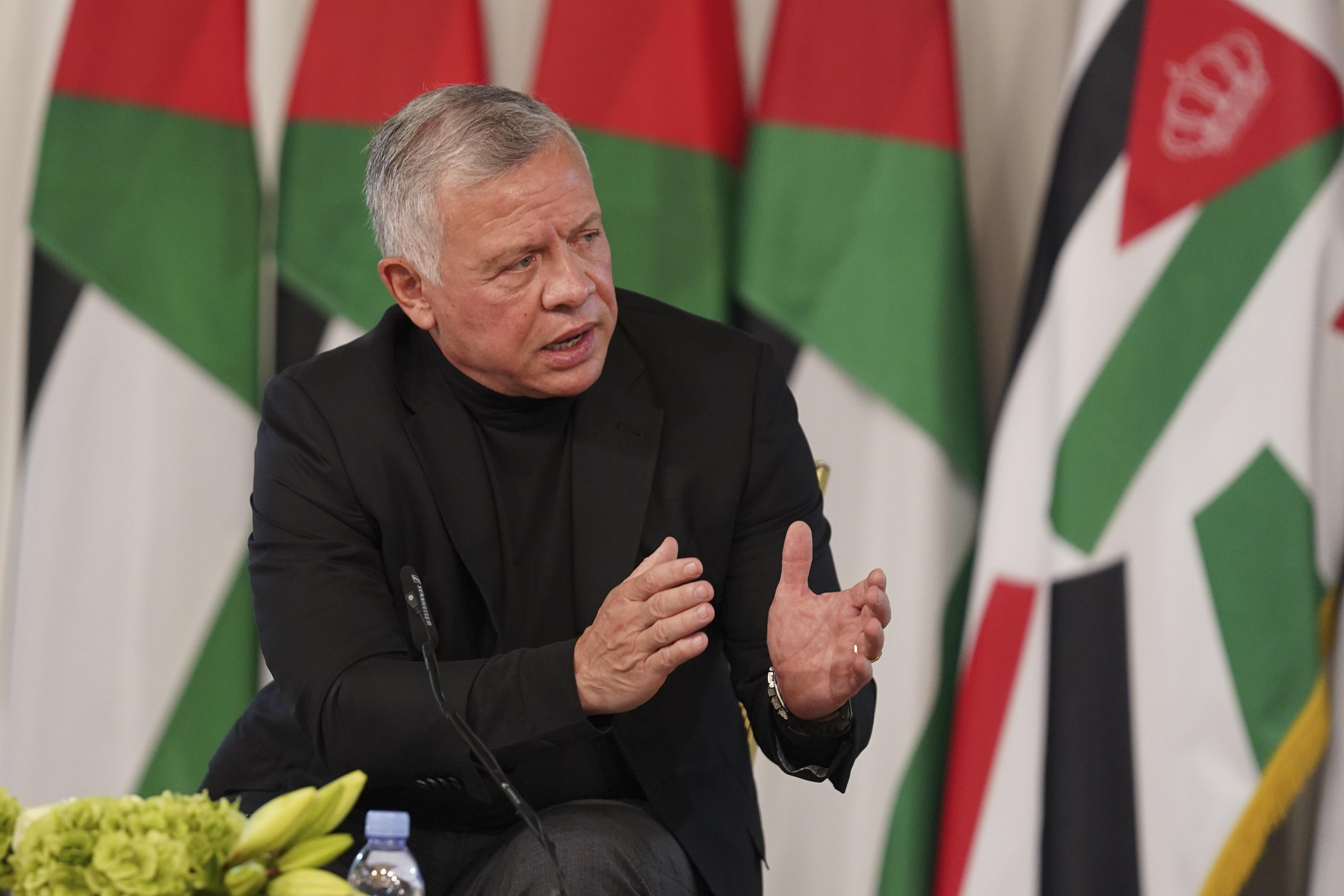 Jordan's King Abdullah II in Al-Qasta, Jordan, on Monday