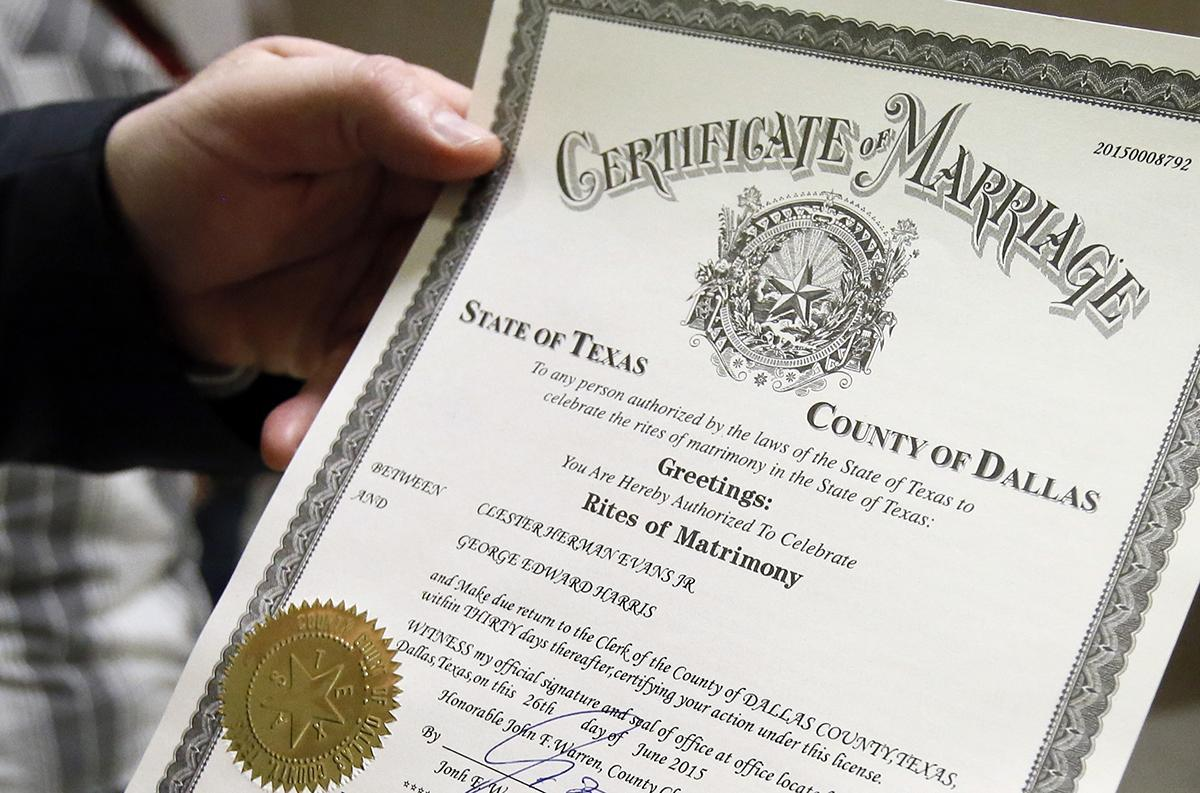 A marriage certificate for two men in Dallas