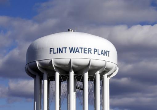 A water tower in Flint, Mich.