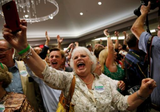 Karen Handel supporters react as election results come in.