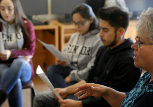 High school seniors talk about college life at the Academy for Technology and the Classics in Santa Fe, N.M.