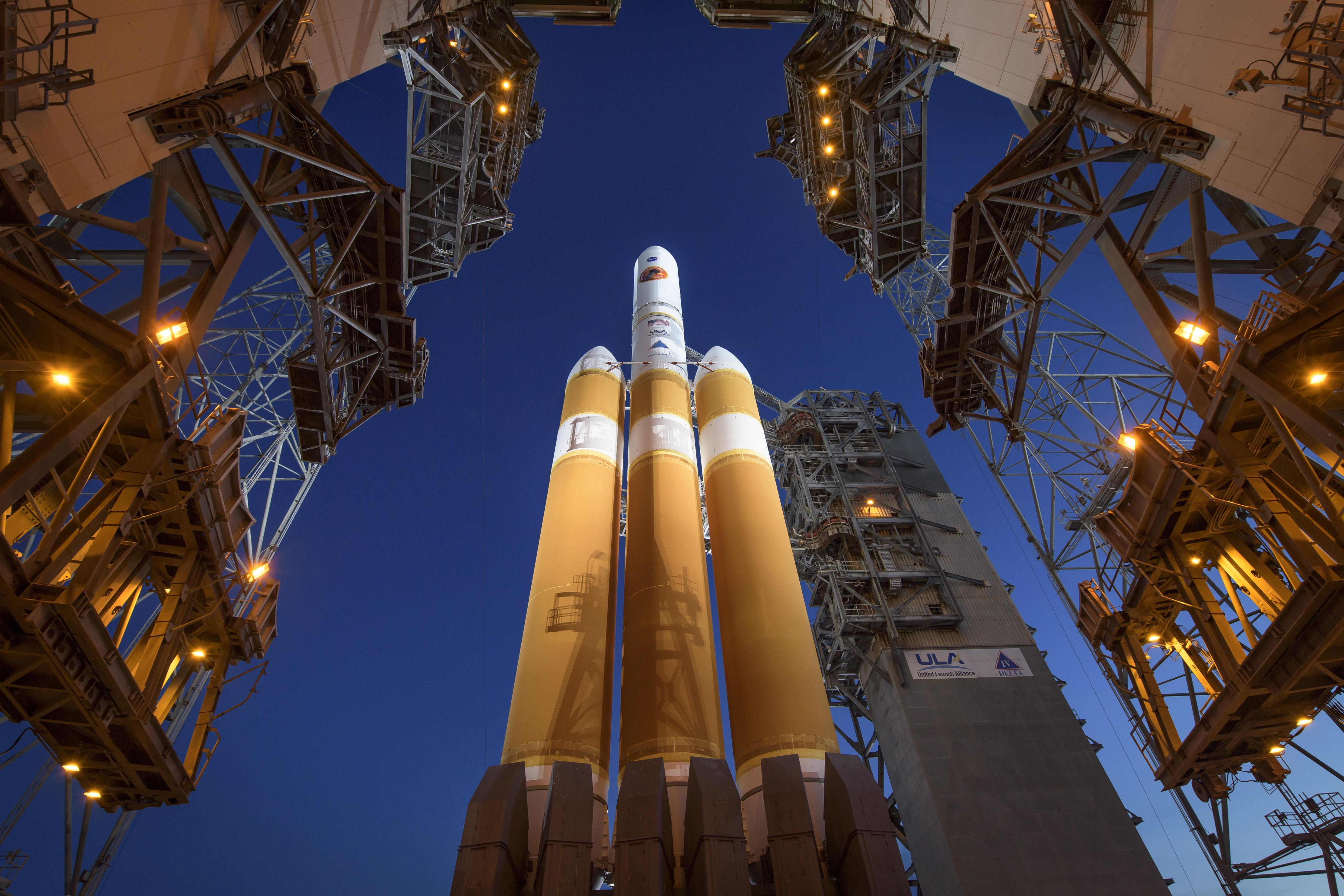 The Delta IV heavy rocket with the Parker Solar Probe onboard at Cape Canaveral Air Force Station in Cape Canaveral, Fla., on Aug 11