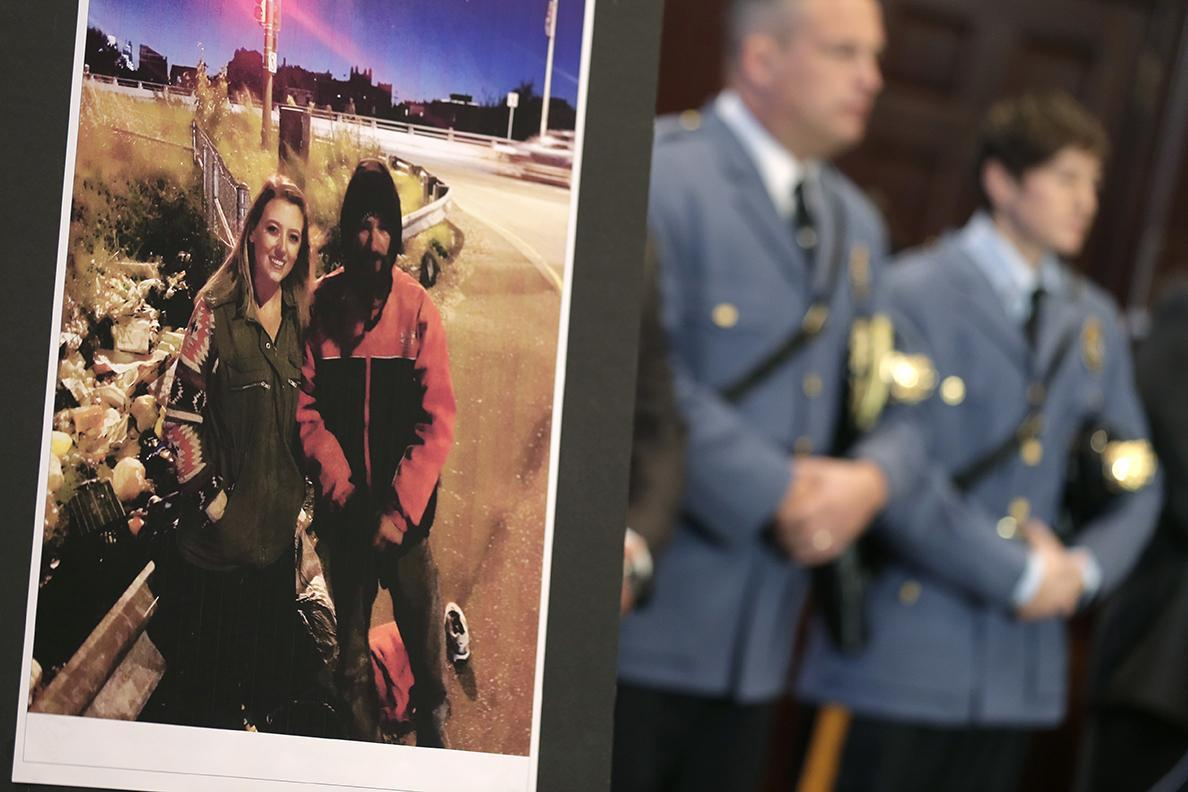 A photo of Katelyn McClure and Johnny Bobbitt Jr. at a news conference in Mt. Holly, N.J.