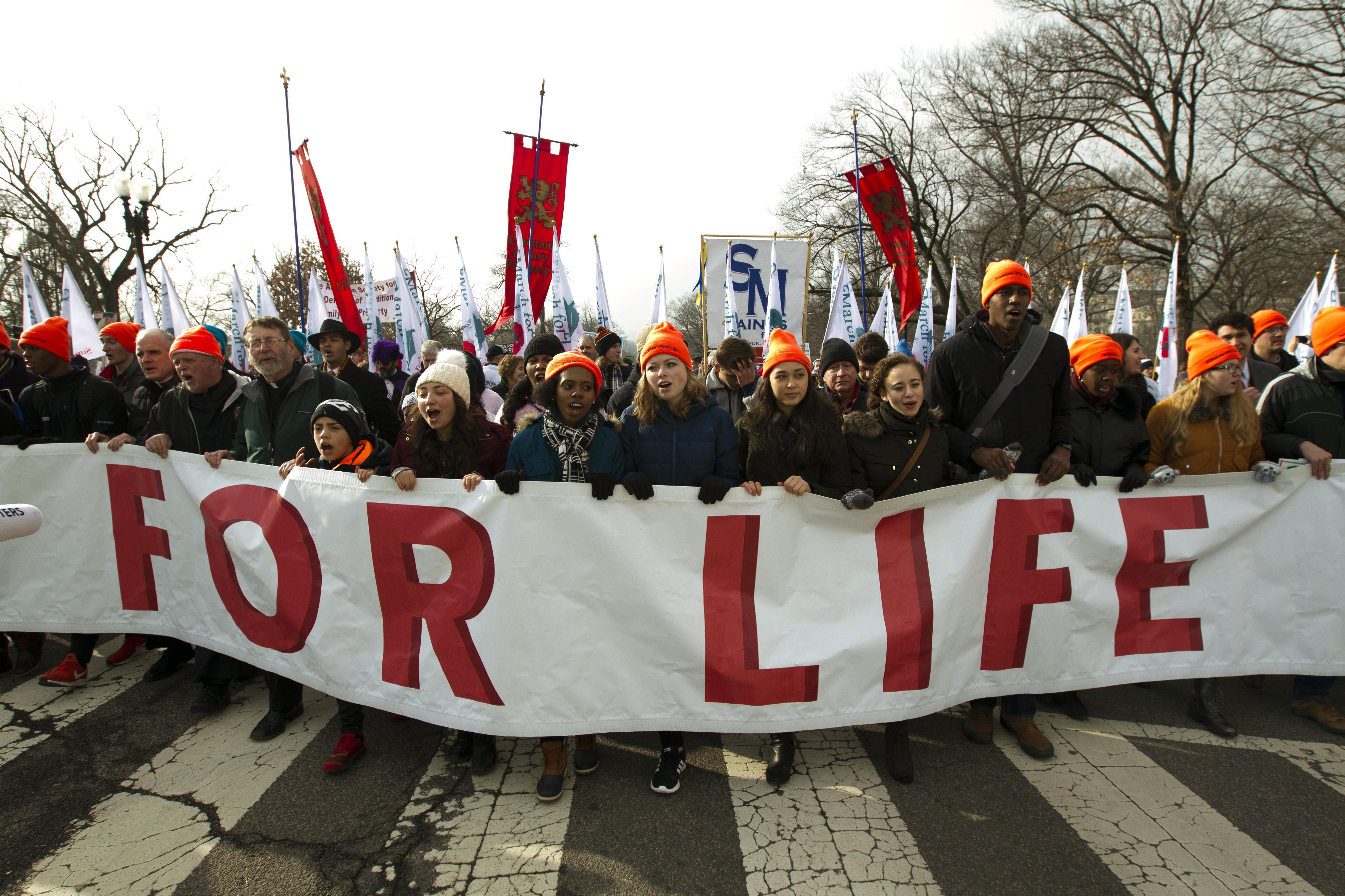Participants in the March for Life head toward the Supreme Court on Jan. 19 in Washington, D.C.