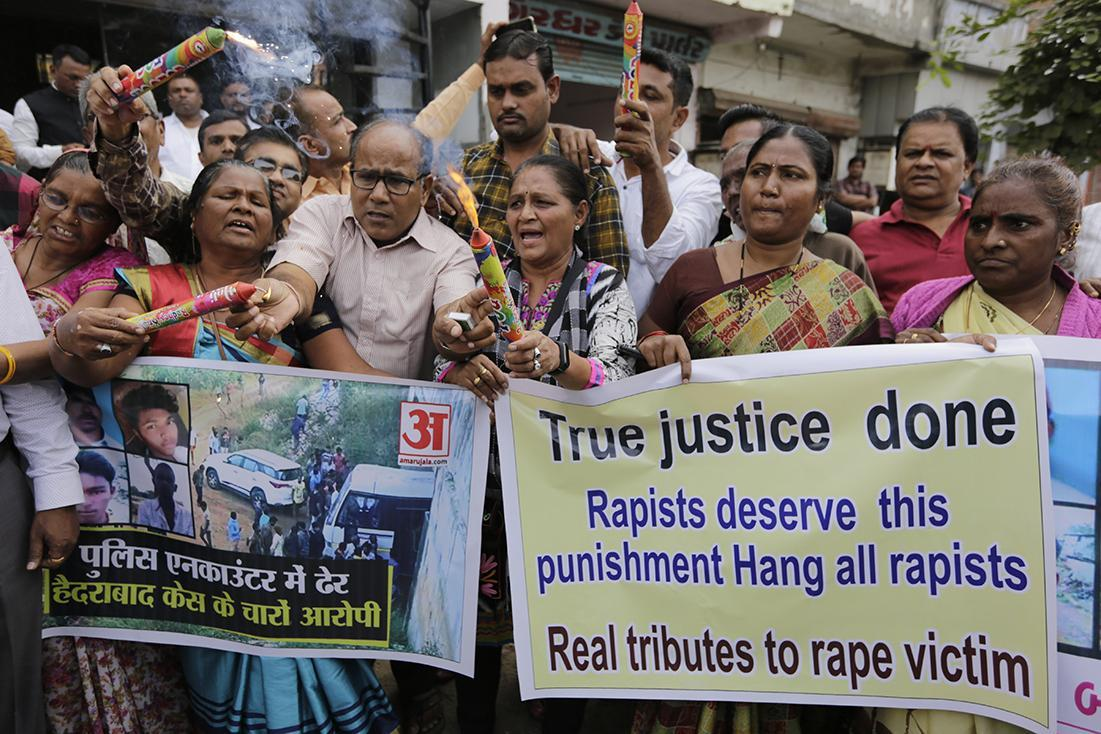 Anti-rape protesters in Hyderabad, India, on Friday