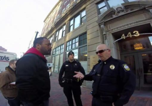 Andrew March talks to police in Portland, Maine.