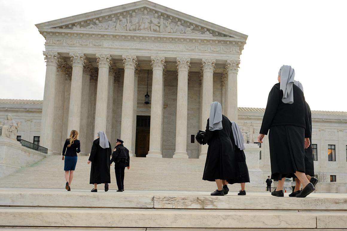 Little Sisters of the Poor outside the Supreme Court in Washington