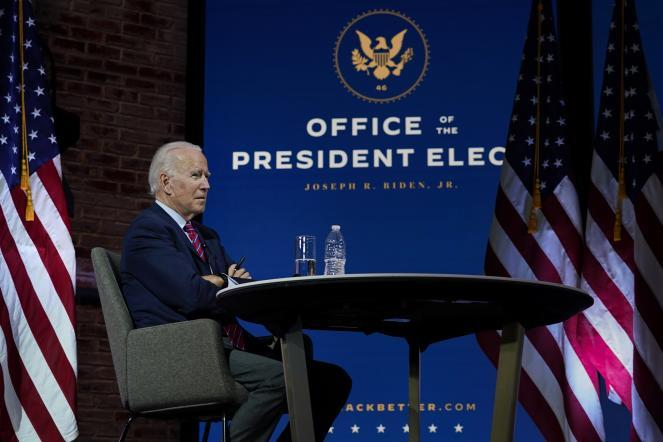 President-elect Joe Biden pauses as he speaks during a virtual meeting with the United States Conference of Mayors at The Queen theater Monday in Wilmington, Del.