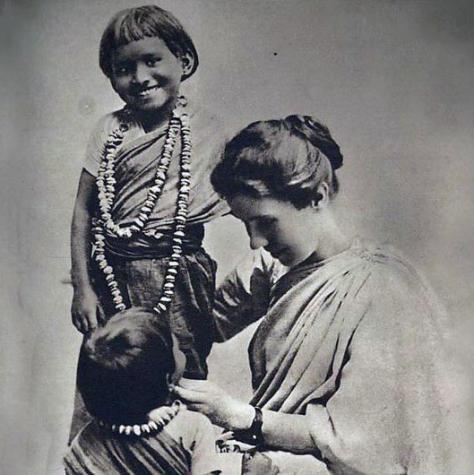 Amy Carmichael with two children in India