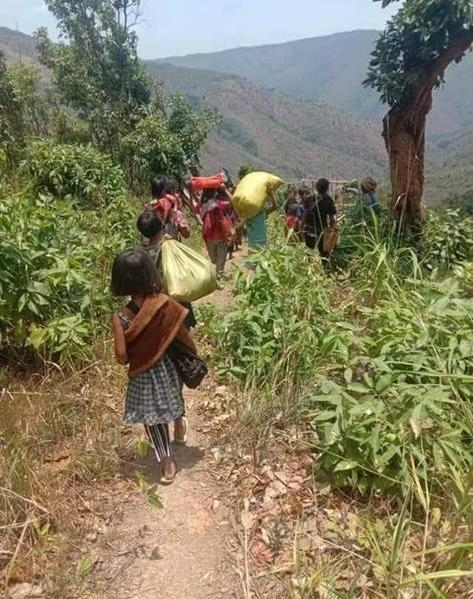 Villagers in Chin state flee into the jungle to avoid military attacks. on their town.