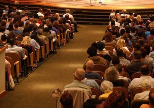 Worshippers fill a church