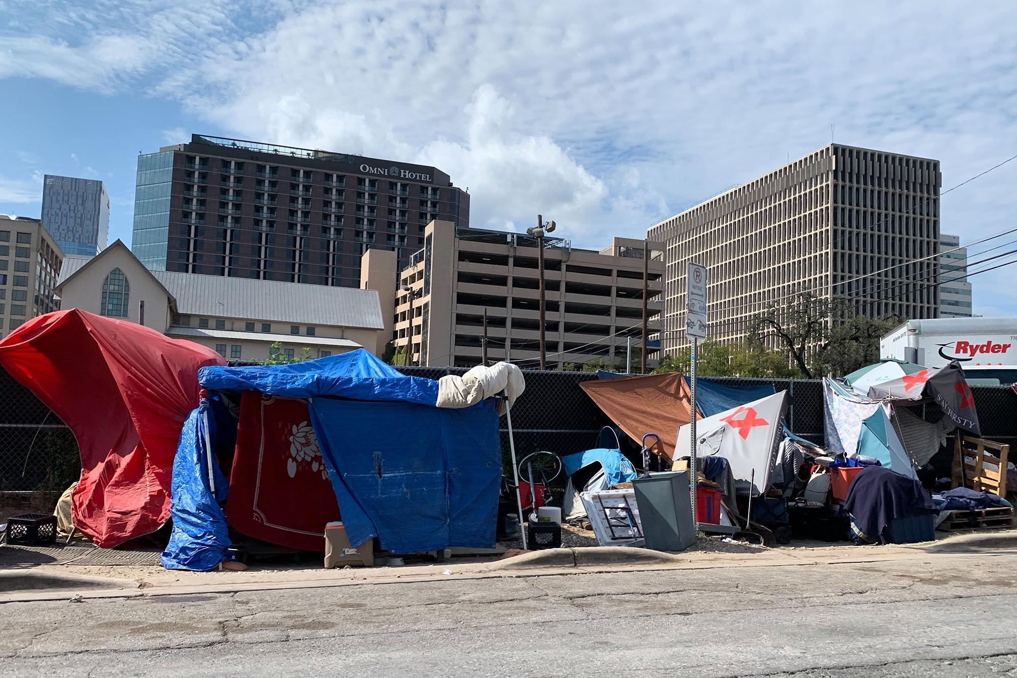 A homeless camp in Austin, Texas