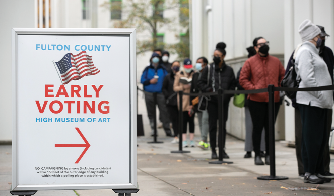 Atlanta voters line up for early voting.