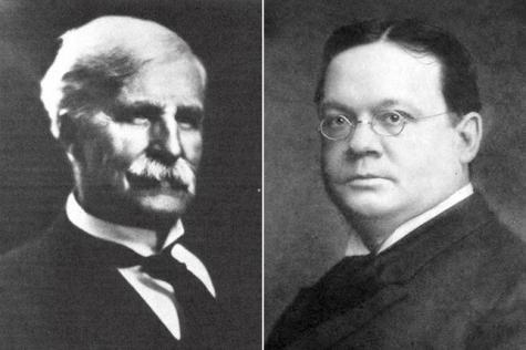 Frederick T. Gates (left) in 1922 and William Rainey Harper in 1916
