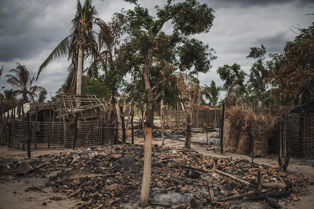 A recently attacked village in the Cabo Delgado province of Mozambique