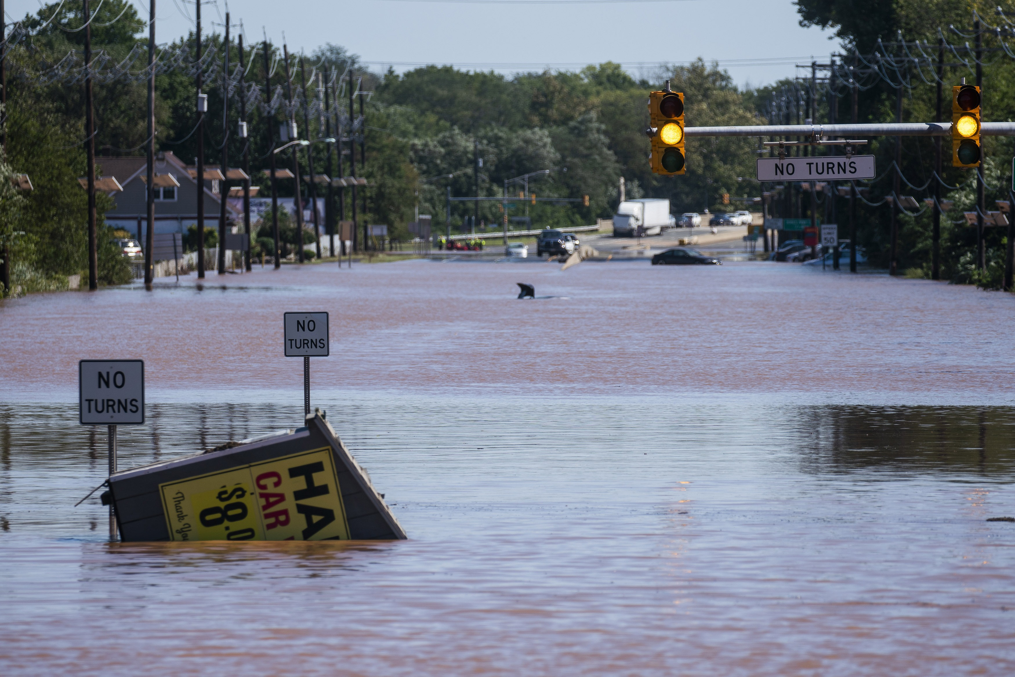 A flooded area in Somerville, N.J.